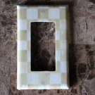 Single Rocker Switch Plate made w/Mackenzie Childs Parchment Check Paper