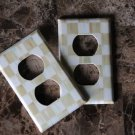 Double Outlet Switch Plate made with Mackenzie Childs Parchment Check Paper