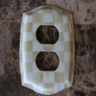 Double Outlet Switch Plate made w/Mackenzie Childs Parchment Check Paper