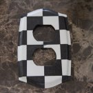 Black and White Checkered Double Outlet Switch Plate