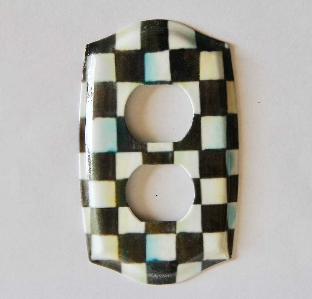 Double Outlet Light Switch Plate w/Mackenzie Childs Courtly Check Paper