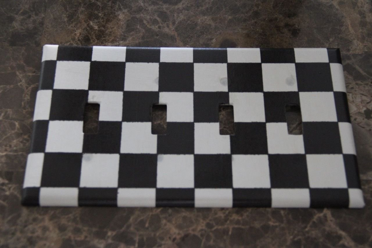 Black and White Checkered 4 Toggle Quad Gang Switch Plate
