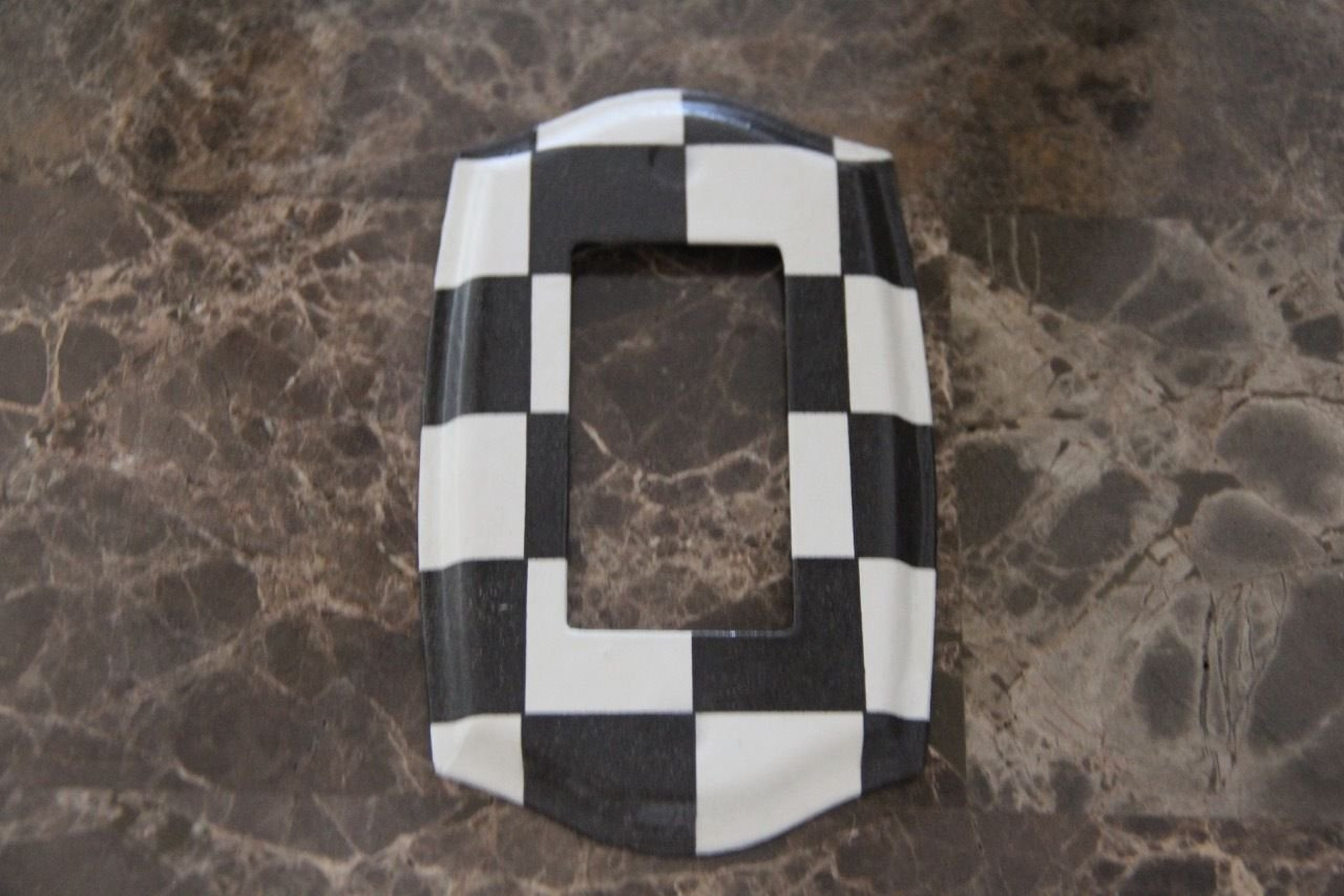 Black and White Checkered Single Rocker Switch Plate