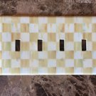 Quad Gang Switch Plate made w/Mackenzie Childs Parchment Check Paper
