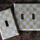 Double 2 Toggle Switch Plate made w/Mackenzie-Childs Parchment Check Paper