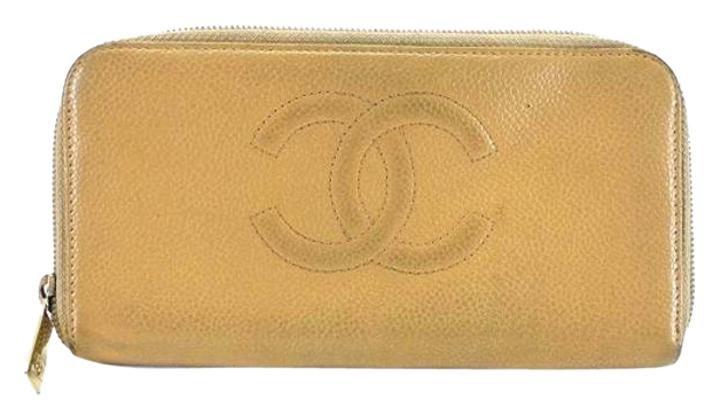 Chanel Caviar Zippy Wallet 208131 Beige Clutch
