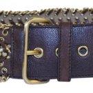 Prada Woven Chain Grommet Leather Belt Sz 34 PRGR01