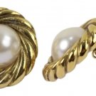 Chanel Gold Tone Faux Pearl Clip On Earrings CCAV404