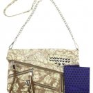 Rebecca Minkoff Harper Snakeskin Multicolor Clutch Msml13 Silver / Brown Cross Body Bag
