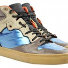 Balenciaga High Top Sneakers Size 42 Blsty05 Metallic Blue Brown Orange Athletic Shoes