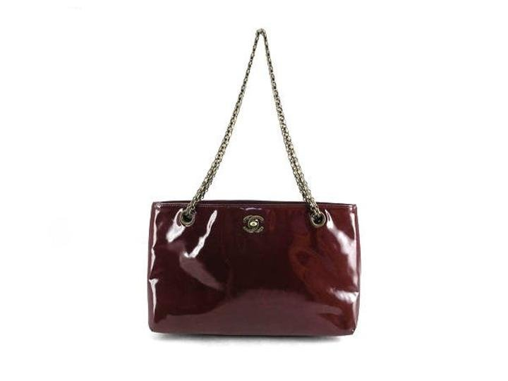 Chanel Patent Leather Chain Tote 210065 Shoulder Bag