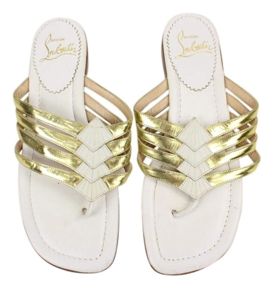 Christian Louboutin Flat Leather White Gold Flip Lbslm42 Sandals