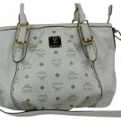 MCM White Two Way Satchel Tote Bag