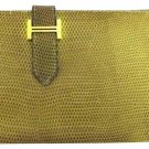 Hermès Hermes Lizard Bearn Green Hombre Bifold Classic Wallet