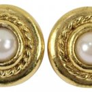 Chanel Gold Tone Faux Pearl Clip On Earrings CCTLM37