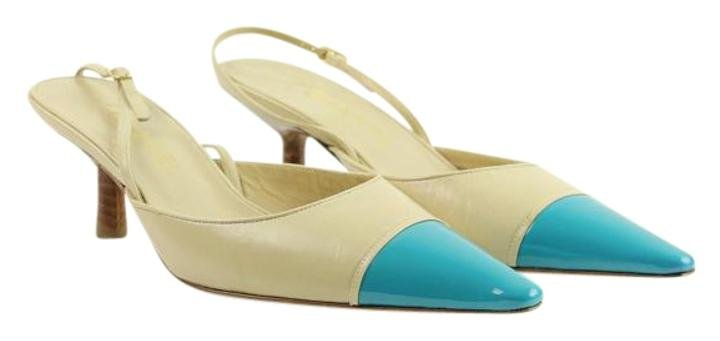 Chanel Two Tone Cap Toe Mules 50cca812 Beige Pumps