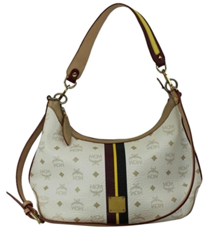 MCM White Monogram Hobo Cross Body Bag