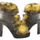 cristhelen b Brown Leather With Fur High Heel Sz 37 Cblm1 Boots