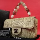 Chanel Jeweled Python Classic Flap ( W/ Box & Dust ) 211701 BROWN Satchel
