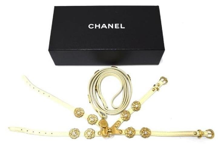 Chanel Adjustable Camellia Harness & Leash 213330