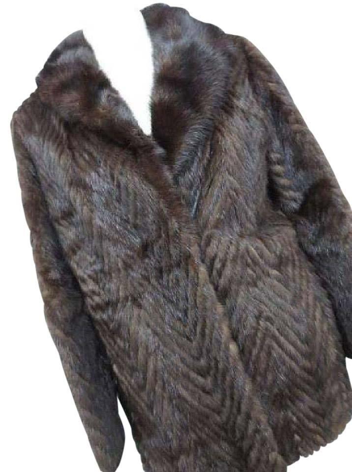 Quilted Chevron Mink 212072 Coat