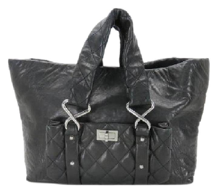 Chanel Jumbo Quilted Chain Reissue 213364 Black Tote Bag
