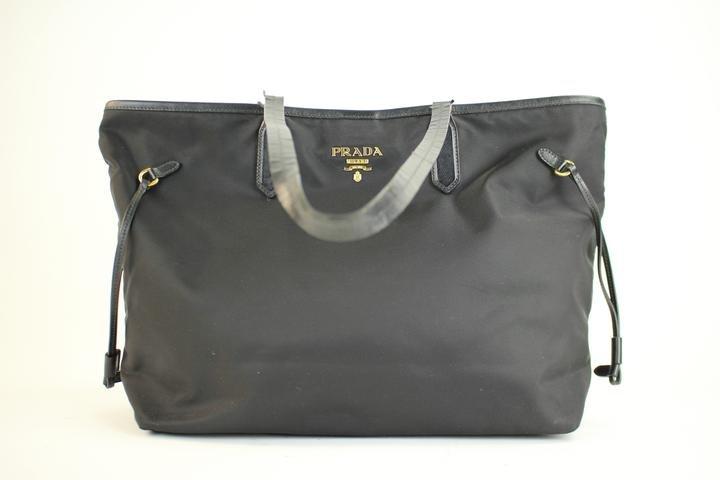 Prada Saffiano Leather Trim 68pra221 Black Tote Bag