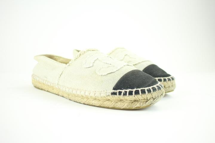 Chanel Black Cc Two-tone Espadrilles 214710 Flats