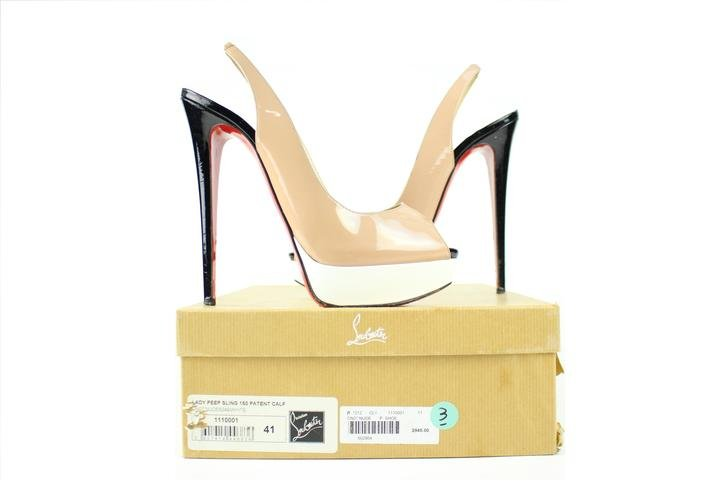 Christian Louboutin Tricolor Black White Sling Lady Peep 39cla3917 Nude Pumps