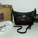 Brighton Leane Black/Choc. Leather Shoulder Purse/Handbag,New in Box and Wallet