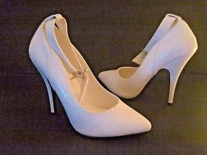 """Seduce by Pleaser -431 White Patent Ankle Strap 5"""" Heel Shoes/Pumps Size 7 New"""