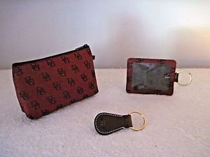 DOONEY & BOURKE Small Cosmetic/Misc.Zipper Bag and Matching Key Rings