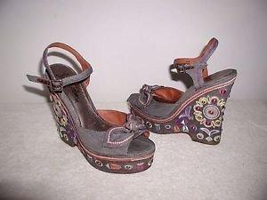 Sam Edelman Rylee  Embroidered,Stud, Denim Platform Sandals Size 10 M