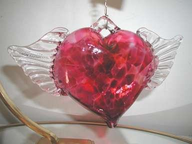 Rare,Blown Glass,Ruby Heart With Wings,Decorative,Christmas/Valentine Ornament