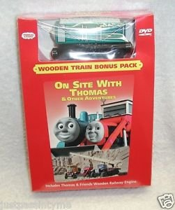 """Thomas & Friends:""""On Site With Thomas"""" DVD ,Wooden Train Bonus Pack!,NEW SEALED"""
