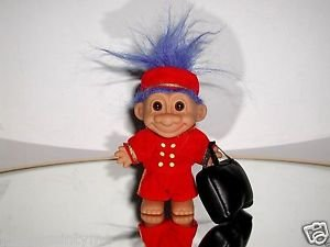 "Russ 5"" Bell Hop Boy Troll Doll With Luggage  and Blue Hair"