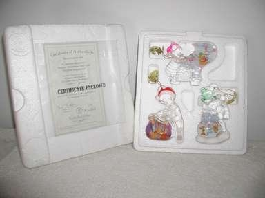 """Bradford Edition's """"Winnie The Pooh's"""" Crystal Clear,Holiday Ornaments,BEAUTIFUL"""