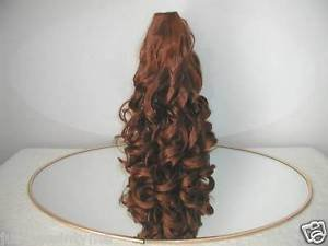 "HAIR EXTENSION 16"" MEDIUM BROWN CURLY PONYTAIL DRAW STRING STYLE,NEW"