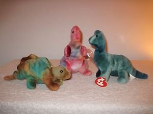 Ty Beanie Baby Dinosaur Trio STEG, REX, and BRONTY -Unusual Markings-
