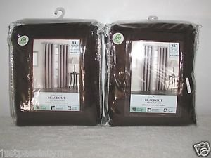 "Home Classics Energy Saving Blackout Curtain Panels,2 Packs,54"" x 84"",Brown,NEW!"