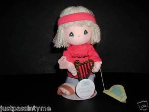 """Precious Moments """"Songs Of Love"""" Limited Edition Doll With Stand,NOS,Hippie,Harp"""