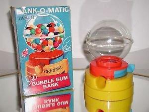 Rare Bank-O-Matic Bubble Gum Ball Machine Bank by Tarco,BOX,KEY & BUBBLE GUM