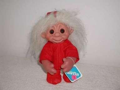 "Norfin Troll, Rare Christmas ""Erika"" Holiday Troll Doll with Hat  & Hang Tag"