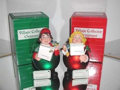 Dept. 56 Village Collector Ornament Set Noel,#18590 & 18591 Girl & Boy,Boxed