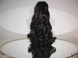 "HAIR EXTENSION VERY DARK BROWN 16"" CURLY PONYTAIL DRAW STRING STYLE,NEW"