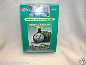 """Thomas & Friends: """"Percy's Ghostly Trick""""DVD, Wooden Train Bonus Pack,NEW SEALED"""