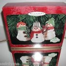 "Hallmark ""The Snowman of Mitford"" Set of 3  Holiday Snowman Ornaments,New In Box"