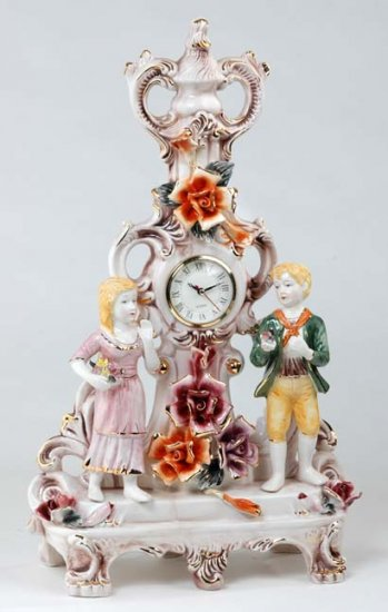 Capodimonte Reproduction Figural Clock