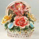 Capodimonte Reproduction Floral Basket