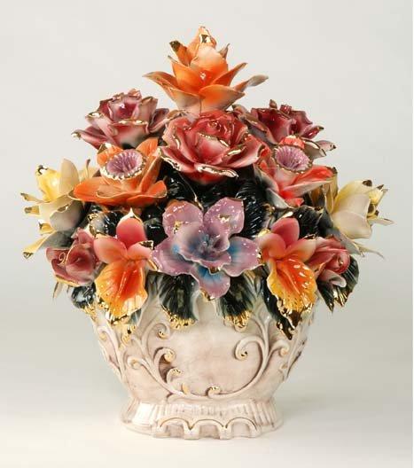 Capodimonte Reproduction Floral Centerpiece
